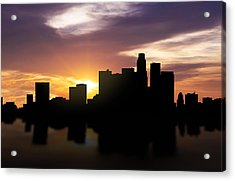 Los Angeles Sunset Skyline  Acrylic Print by Aged Pixel
