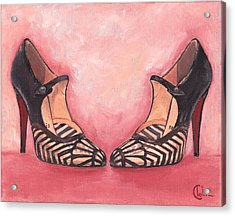 Nouveau Flapper Girl Heels  Acrylic Print by Cecely Bloom