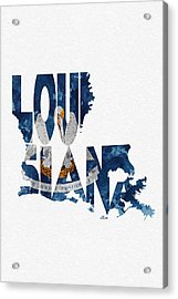 Louisiana Typographic Map Flag Acrylic Print by Ayse Deniz