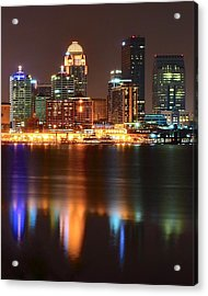 Louisville At Night  Acrylic Print by Frozen in Time Fine Art Photography