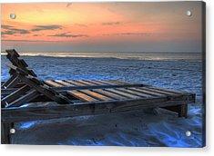 Lounge Closeup On Beach ... Acrylic Print by Michael Thomas