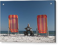 Lounging With Inukshuk Acrylic Print by Gord Horne