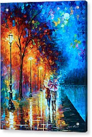 Love By The Lake Acrylic Print by Leonid Afremov