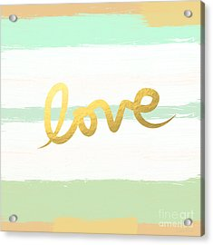 Love In Mint And Gold Acrylic Print by Linda Woods
