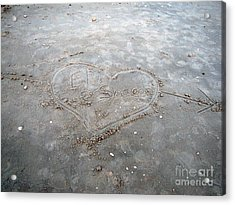 Love Letters In The Sand Acrylic Print by Sharon Burger