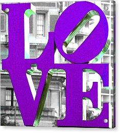 Love Philadelphia Purple Acrylic Print by Terry DeLuco