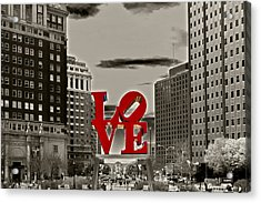 Love Sculpture - Philadelphia - Bw Acrylic Print by Lou Ford