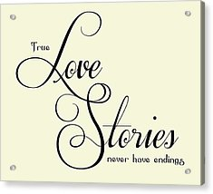 Love Stories Acrylic Print by Jaime Friedman