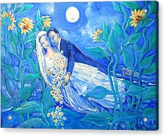 Lovers And Sunflowers  After Marc Chagall  Acrylic Print by Trudi Doyle