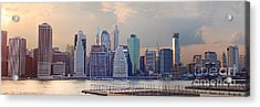 Lower Manhattan Panorama From Brooklyn Acrylic Print by Thomas Marchessault