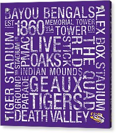 Lsu College Colors Subway Art Acrylic Print by Replay Photos