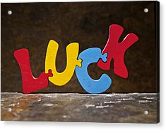 Luck Jigsaw Puzzle Painted Wood Letters Acrylic Print by Donald  Erickson