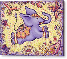 Lucky Elephant Purple Acrylic Print by Judith Grzimek