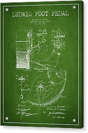 Ludwig Foot Pedal Patent Drawing From 1909 - Green Acrylic Print by Aged Pixel