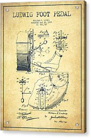 Ludwig Foot Pedal Patent Drawing From 1909 - Vintage Acrylic Print by Aged Pixel