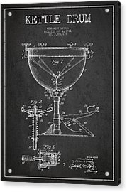 Ludwig Kettle Drum Drum Patent Drawing From 1941 - Dark Acrylic Print by Aged Pixel