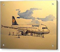 Lufthansa Plane Acrylic Print by Juan  Bosco
