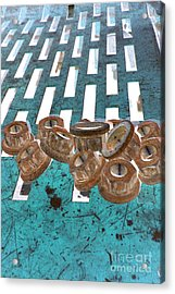 Lug Nuts On Grate Vertical Turquoise Copper Acrylic Print by Heather Kirk