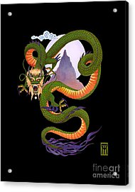 Lunar Chinese Dragon On Black Acrylic Print by Melissa A Benson