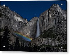 Lunar Moonbow At Yosemite Falls Acrylic Print by Larry Marshall
