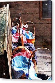 Lunch Baskets In One Room Schoolhouse Acrylic Print by Susan Savad