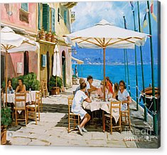 Lunch In Portofino Acrylic Print by Michael Swanson