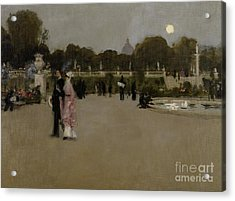 Luxembourg Gardens At Twilight Acrylic Print by John Singer Sargent