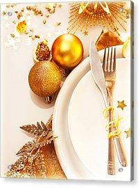 Luxury Christmas Table Setting Acrylic Print by Anna Omelchenko