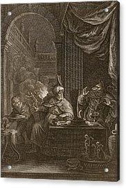 Lycaon Metamorphosed Into A Wolf, 1731 Acrylic Print by Bernard Picart