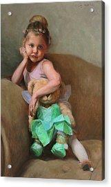 Lydia And Tinker Bear Acrylic Print by Anna Rose Bain