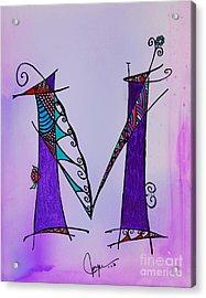 'm' Monogram Acrylic Print by Joyce Auteri