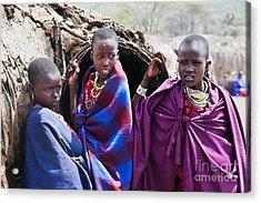 Maasai Children Portrait In Tanzania Acrylic Print by Michal Bednarek