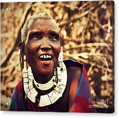 Maasai Old Woman Portrait In Tanzania Acrylic Print by Michal Bednarek