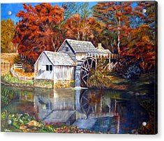 Mabry Mill Blue Ridge Virginia Acrylic Print by LaVonne Hand