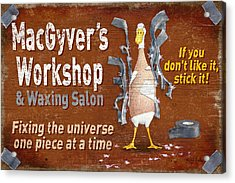 Macgyvers Workshop Acrylic Print by JQ Licensing