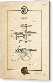 Machine Gun - Automatic Cannon By C.e. Barnes - Vintage Patent Document Acrylic Print by Serge Averbukh