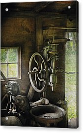 Machine Shop - An Old Drill Press Acrylic Print by Mike Savad