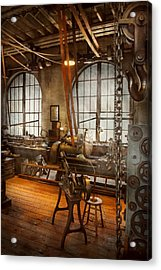 Machinist - The Crowded Workshop Acrylic Print by Mike Savad