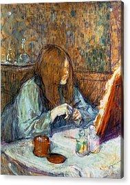 Madame Poupoule At Her Toilet Acrylic Print by Henri de Toulouse-Lautrec