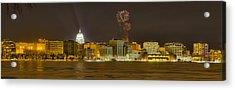 Madison Skyline New Years Eve Acrylic Print by Steven Ralser