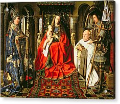 Madonna And Child With Canon Joris Van Der Paele Acrylic Print by Jna Van Eyck