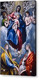 Madonna And Child With Saint Martina And Saint Agnes Acrylic Print by  El Greco Domenico Theotocopuli
