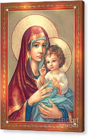 Madonna And Sitting Baby Jesus Acrylic Print by Zorina Baldescu
