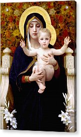 Madonna Of Lilies Acrylic Print by Bouguereau