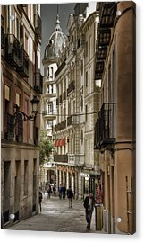 Madrid Streets Acrylic Print by Joan Carroll