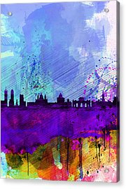 Madrid Watercolor Skyline Acrylic Print by Naxart Studio
