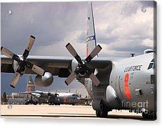 Acrylic Print featuring the photograph Maffs C-130s At Cheyenne by Bill Gabbert