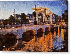 Magere Brug Bridge In Amsterdam Acrylic Print by George Atsametakis