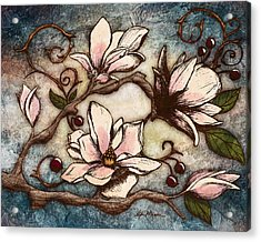 Magnolia Branch I Acrylic Print by April Moen