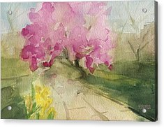 Magnolia Tree Central Park Watercolor Landscape Painting Acrylic Print by Beverly Brown